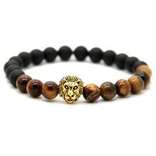 Ailatu Nouveau Design Hommes Or de Couleur Tête de Lion Bracelets Fait par 8mm Mat Agate Pierre Perles Avec Naturel Oeil de Tigre pierre