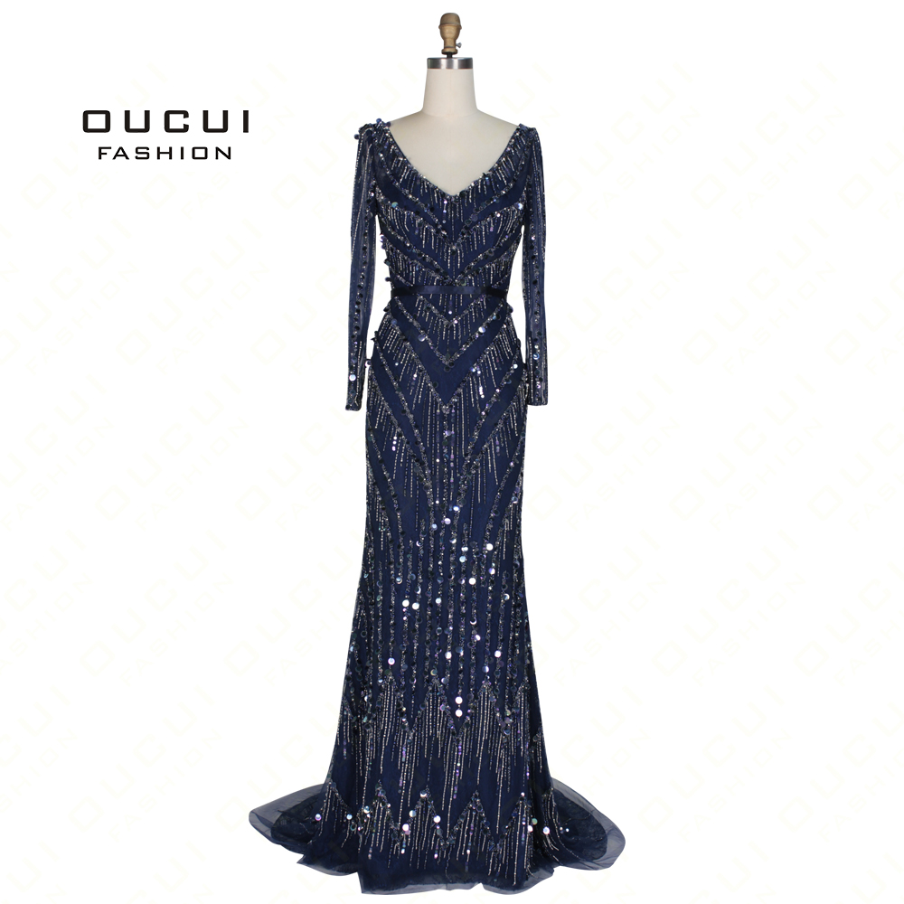 Real Photos Long   Evening     Dress   V neck Navy Mermaid Full sleeves handmade Beaded Crystal Open back OL103010
