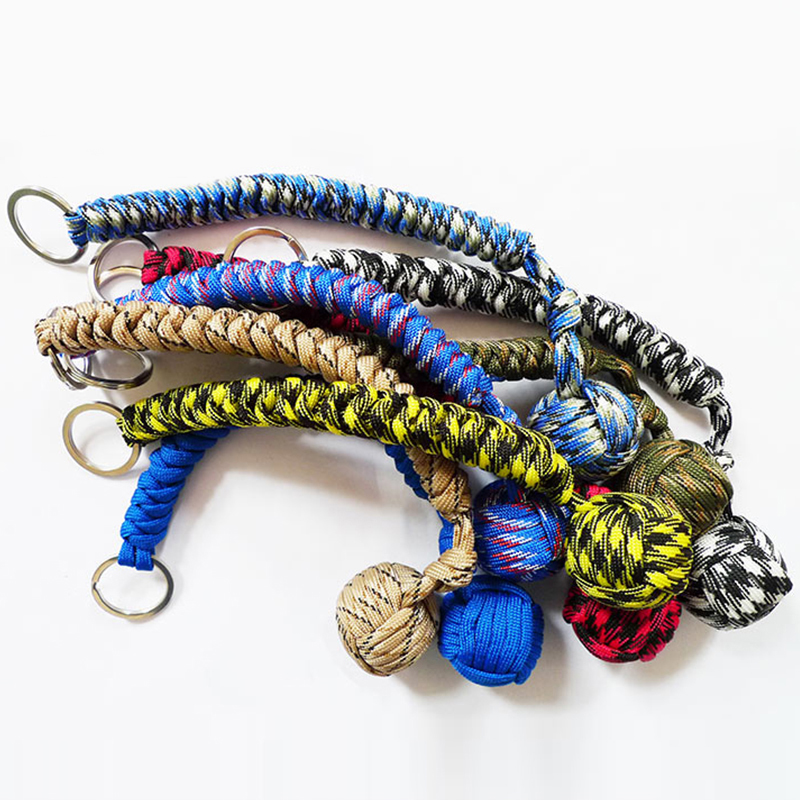Outdoor Multicolor Security Protecting Monkey Fist Steel Ball Bearing Self Defense Lanyard Survival Key Chain