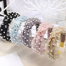 Korean Pearl Headband for Women Bezel Simple Knotted Hair Loop Women Hairband Fashion Headwear Girls Hair Hoop Accessories full drilling double thin headband for women fashion glitter hairband hair hoop korean girls hair accessories headwear