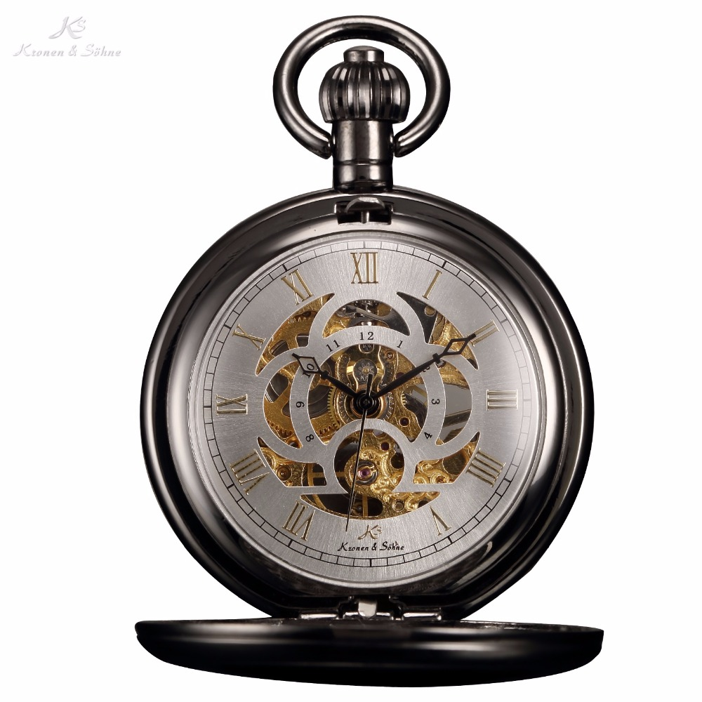 KS Luxury Skeleton White Dial Antique Hand Winding Roman Numerals Mechanical Analog Clock Fob Chain Jewelry Pocket Watch /KSP009