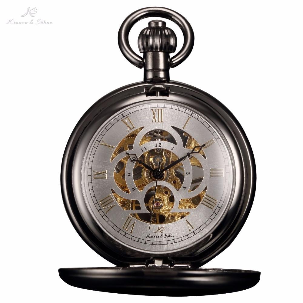 KS Luxury Skeleton White Dial Antique Hand Winding Roman Numerals Mechanical Analog Clock Fob Chain Jewelry Pocket Watch /KSP009