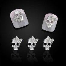 10 unids gótico del cráneo Bowknot uñas Strass arte decoraciones Shinning pedrería chica joyería del clavo 3d envío gratis