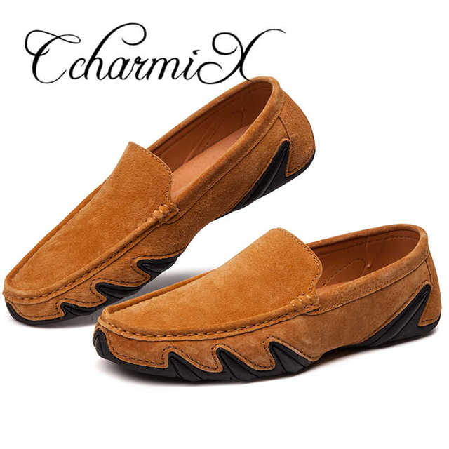 CcharmiX Summer Walking Breathable Casual Shoes New Fashion Moccasins Men Loafers Suede Leather Mens Driving Boat Shoes Big Size 3