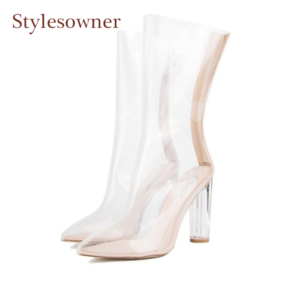 Stylesowner big size pvc transparent ankle boots women clear chunk crystal high heel pointed toe short boots fashion runway shoe odetina 2017 new fashion high heels transparent women boots clear peep toe crystal heel shoes summer ankle boots big size 34 42