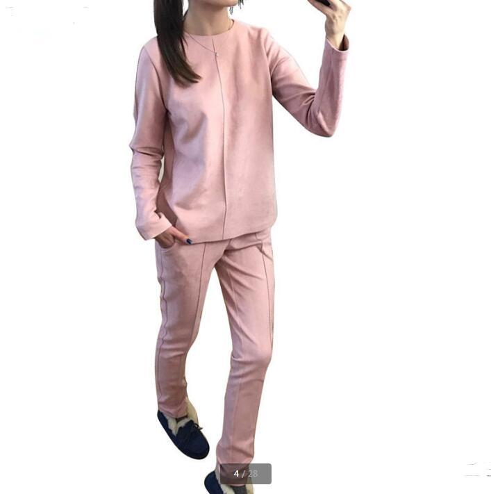 Nouveau mode Russie style de Femmes Automne En Daim Survêtement Femmes Hoodies 2-Pièce Ensemble t-shirts + Long pantalon) loisirs Costumes