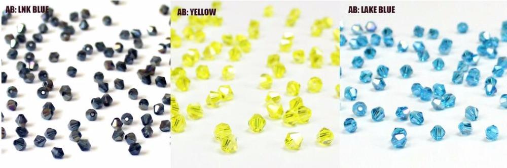 Кристалл Ab bicone бусины 100шт/много 4мм чешские свободные хрустальные бусины/граненые стеклянные бусины для DIY ювелирные изделия ожерелье браслет SJ007