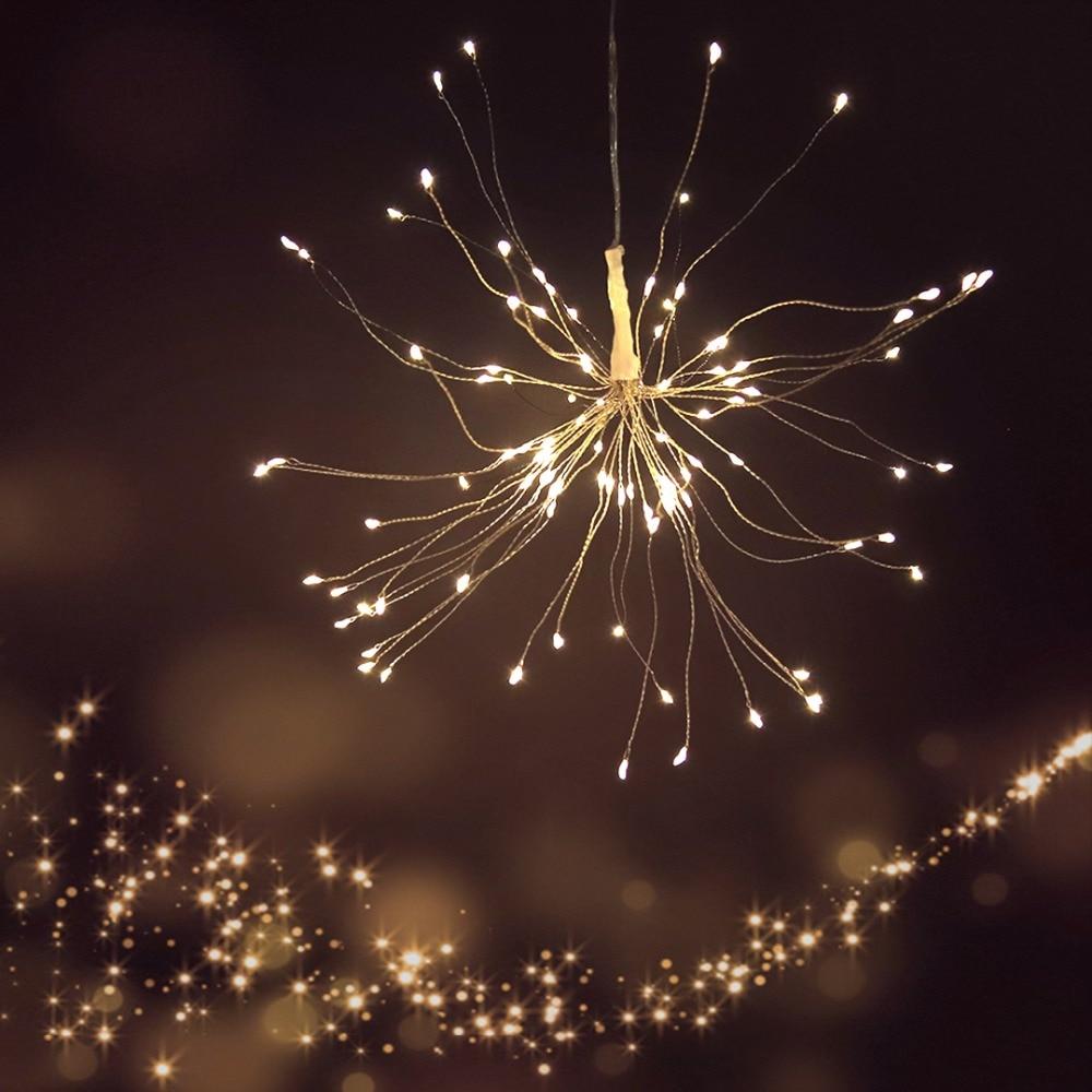 LED cadena luces de fuegos artificiales decoración de vacaciones Luz de hadas con Control remoto para la boda de Navidad con pilas JQ