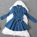 Denim verão Vestido Moda Feminina manga Comprida Lapela Collar Bow Sashes Jeans Vestido Ocasional 67