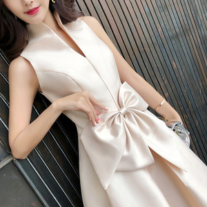 Image 2 - Mrs Win Noble Ladies Evening Dress Sweet Elegant Medium Long Section Banquet Dinner Dress Party Prom Dress Vestido De Festa L