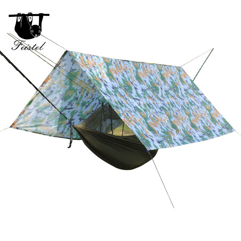Feistel Hammock Rain Fly Tent Tarp Shelter - Camping Shelter Rainfly Sun Shelters and Sunshade for Beach, Picnic onetigris waterproof camo tent tarp rain fly camping survival backpacking tarp shelter 9x9ft