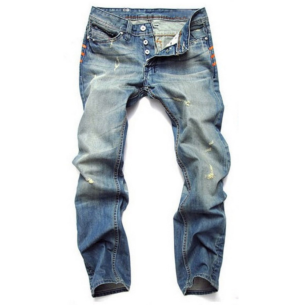 Hot Men's Destroyed Frayed Jeans Ripped Distressed Skinny Slim Fit Denim Jeans Tapered Pencil Pants Light Bleached Blue Trousers