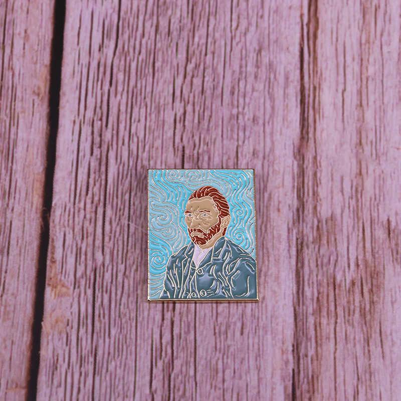 Vincent Van Gogh self-portrait distintivo pittore artista spilla unisex camicie giacche accessori