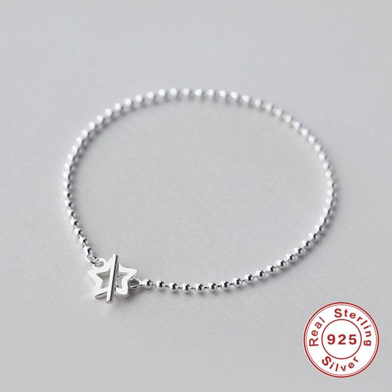 5188a73d97ab ROMAD Real Pulsera de Plata de Ley 925 Pulsera Con Cuentas Simple Estrella  Pulseras Para Las Mujeres Joyería armbanden voor vrouwen R5