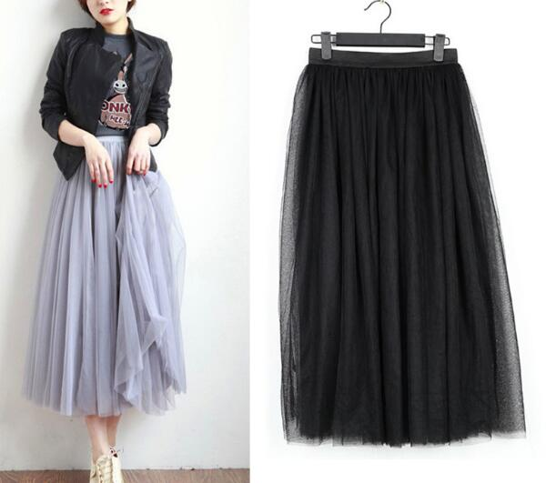65 70 75 80 90cm 4 layers WOMEN GIRL Tulle Skirt Elegant Pleated Tutu Skirts Womens Lolita Petticoat faldas mujer Saias Jupe