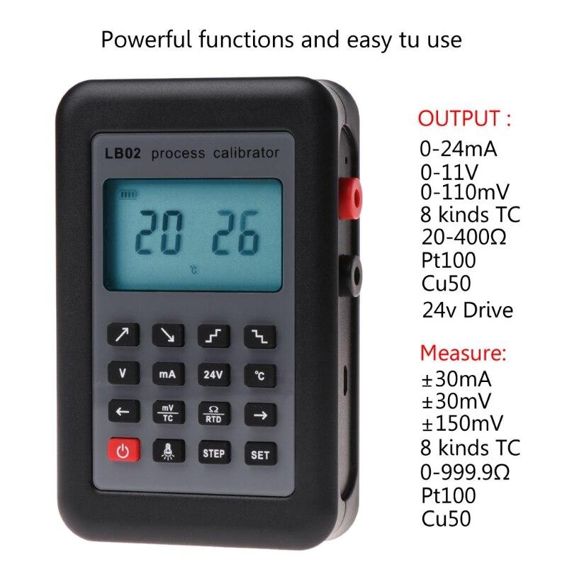 LB02 Calibrateur Testeur Résistance Voltmètre Courant Générateur de Signal Source Calibrateur de Process 4-20mA/0-10 v/mV LCD affichage LS'D