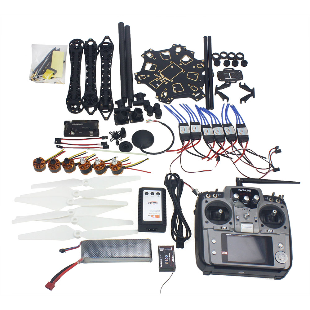 JMT DIY RC Drone Full Set 6-axis Aircraft Kit with HMF S550 Frame 6M GPS APM 2.8 Flight Control AT10 Remote control