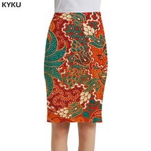 KYKU Brand Flower Skirts Women Retro Sundresses Chinese Style 3d Print Skirt Colorful Party Sexy Ladies Womens Knitted