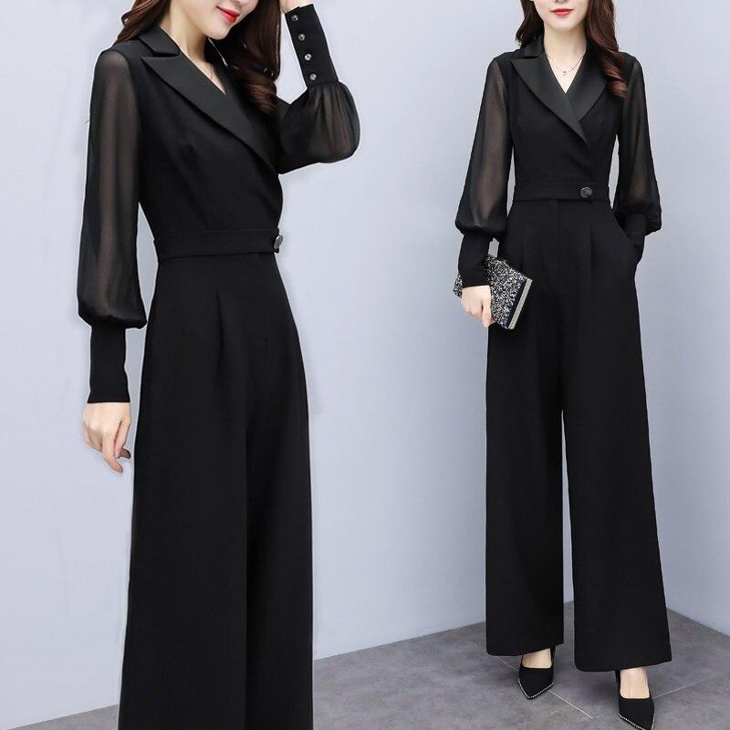 2019 macacões para mulheres outono coreano senhora do escritório elegante chiffon lapela v pescoço manga longa ampla perna macacão preto branco aa4737 - 2