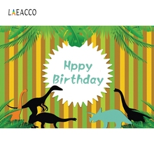 Laeacco Green Stripe Backdrop Dinosaur Birthday Portrait Photography Background Custom Photographic Backdrops For Photo Studio huayi trojan horse photography backdrop scenery custom photo portrait studios birthday background cartoon backdrop xt4853