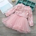 Весна Корея детская Одежда Девочка Стерео Лепестки FakeTwo Части Платья Дети Платье Принцессы
