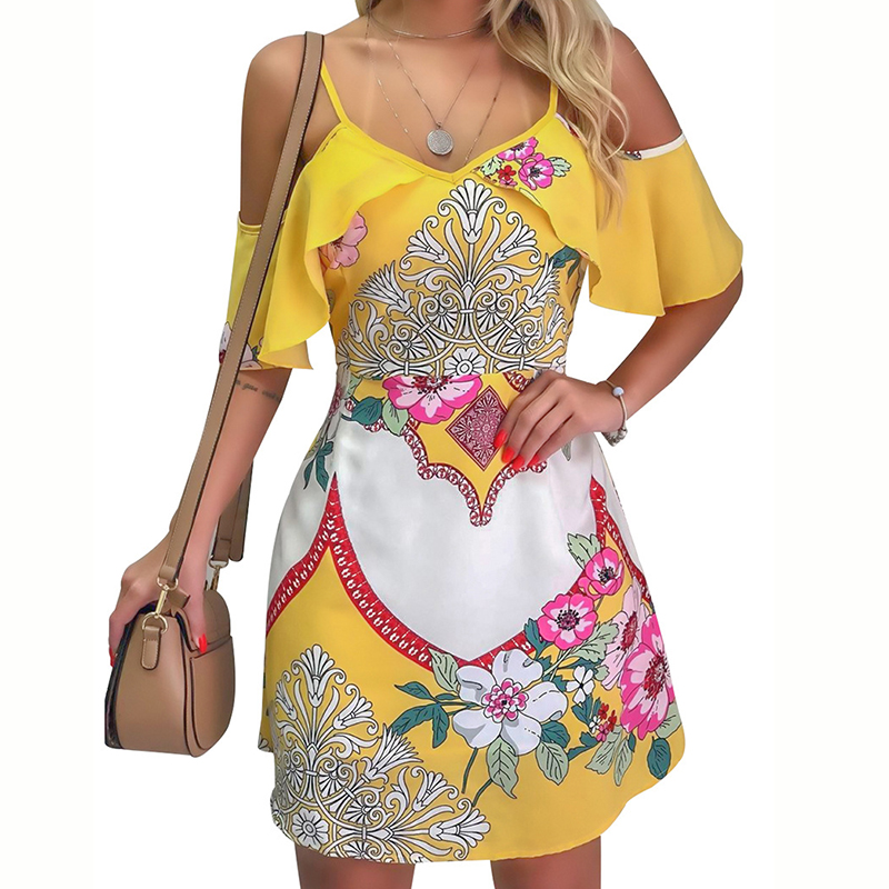 Off Shoulder Ruffle V-Neck Boho Printed Dress Women 2019 Floral Short Sleeve Sexy Dress Beach Vacation Sundress Mini Dress GV254 image