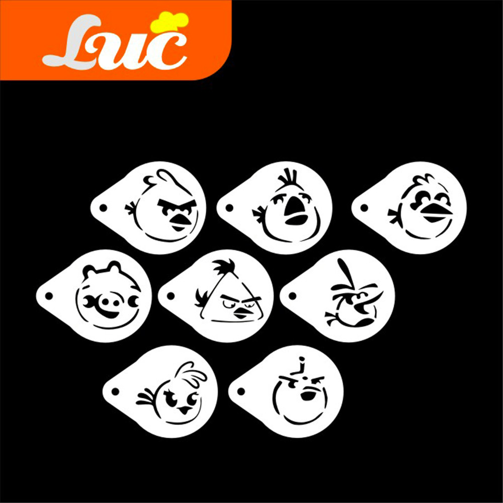 LUC Stencils Small Size 28 Inches Birds And Pig Head Glass Stencil Set Template