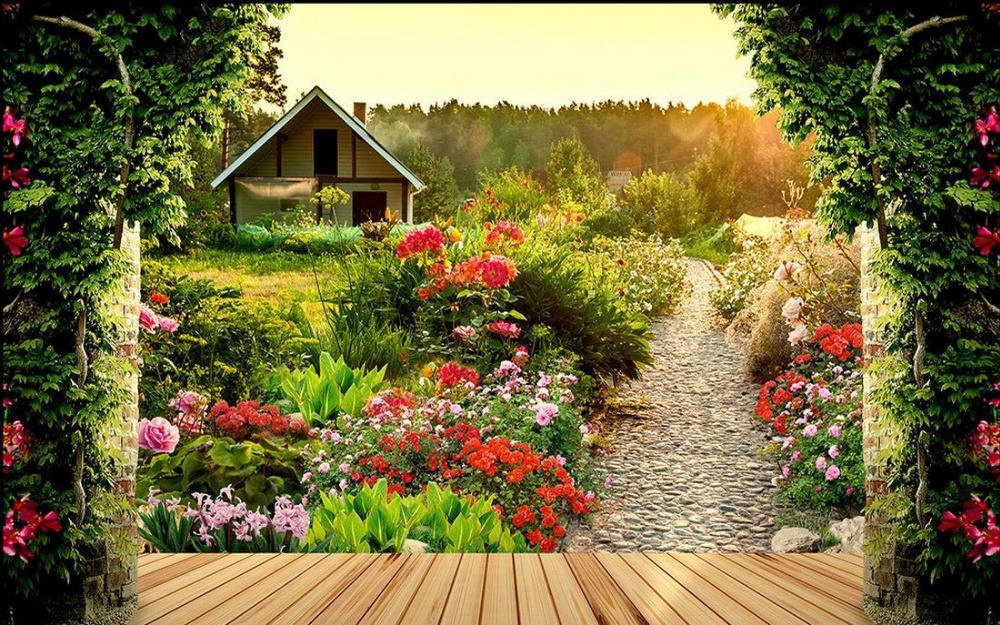 Custom photo wallpaper large 3d stereo romantic garden 3d for Wallpaper home and garden