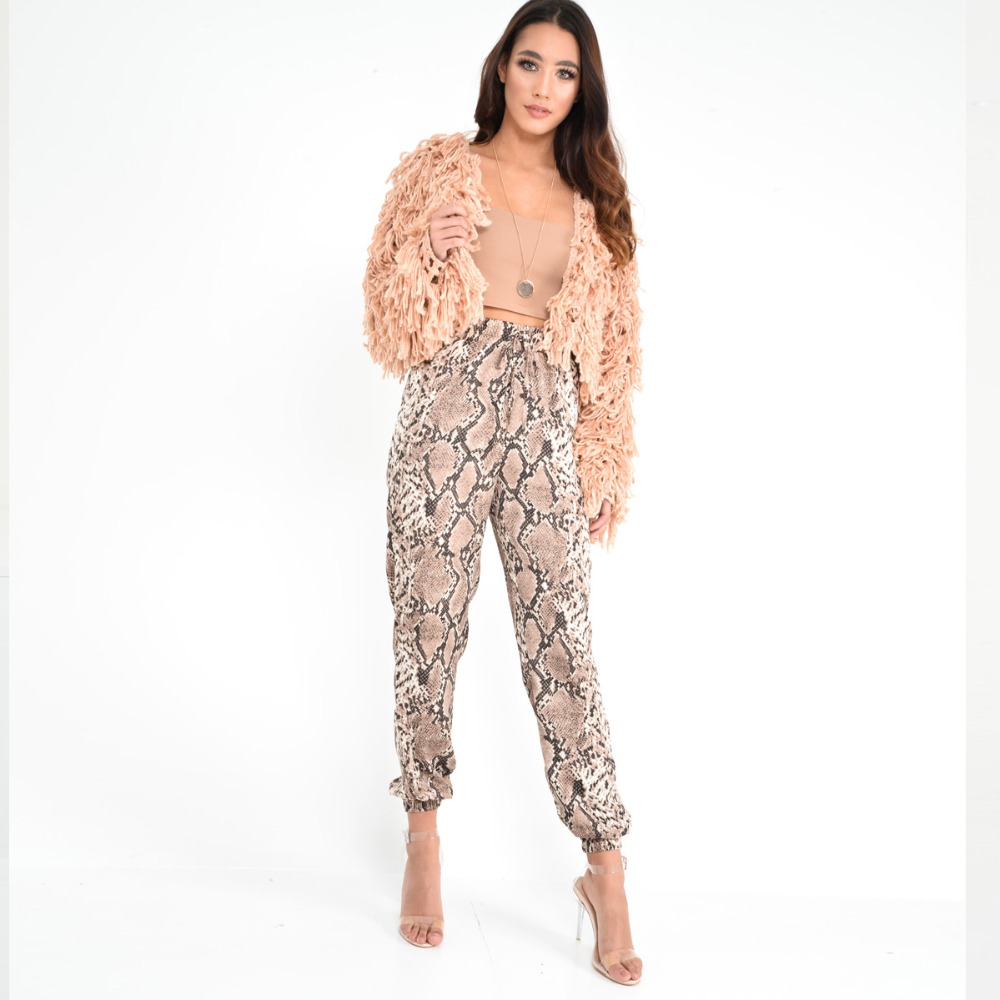 New Women Animal Pattern Trouser Casual Snake Skin Printed Harem Pants Elastic pleated female casual ankle length trousers 1