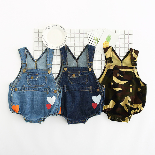 2017 Baby Girl Bodysuit Mangas Newborn Bodysuit Infantil Do Bebê Meninos Denim Macacão Roupas Para Meninos Bodysuit Do Bebê Para Bebês