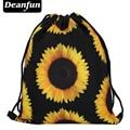 Deanfun softback Ежедневно рюкзак унисекс черный подсолнечника 3d печати полиэстер женщин рюкзаки freeshipping