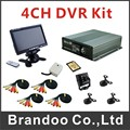 4 channel Car DVR kit, including 4 cameras and 7inch car monitor, 32GB sd card with separate microphone used for taxi and bus
