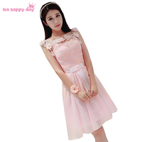 2019 latest design sexy formal modern fashion hot a line beautiful prom dresses light pink lace up tea party dress W2734