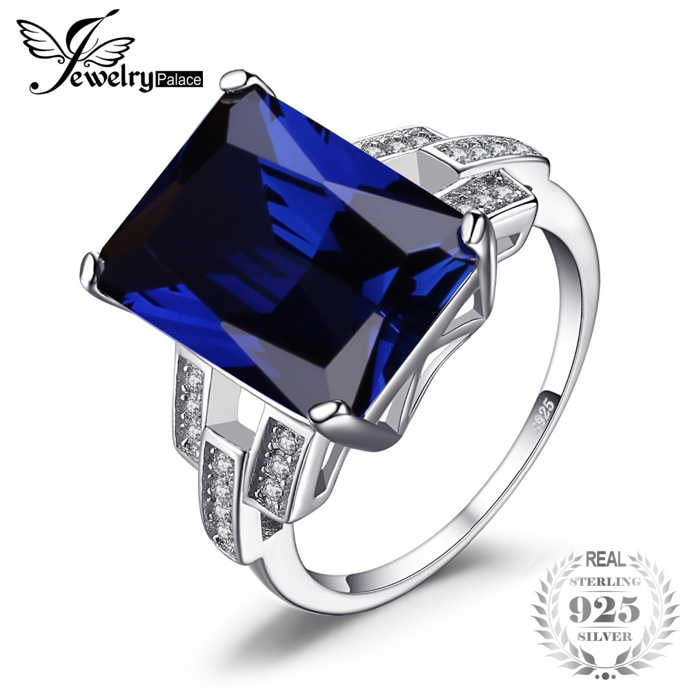 JewelryPalace Luxury Emerald Cut 9.6ct Created Blue Sapphire Cocktail Ring 925 Sterling Silver Ring for Fashion Women On SaleJewelryPalace Luxury Emerald Cut 9.6ct Created Blue Sapphire Cocktail Ring 925 Sterling Silver Ring for Fashion Women On Sale