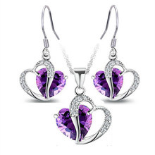 2016 charm lady Purple Blue Crystal zircon Heart Necklace Earrings Set beautiful lady jewelry