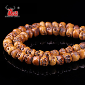 Image 2 - 30PCS Handmade Carved Yak Bone Beads, Skull Antique Beads for Halloween Jewelry Making, Brown,11x13mm, Hole: 2mm