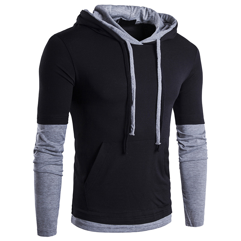 JCCHENFS 2018 Discount Sale Fashion Brand Mens T-Shirt Casual Hoodie T Shirt For Men Long Sleeve Patchwork Men Hooded Shirt Top