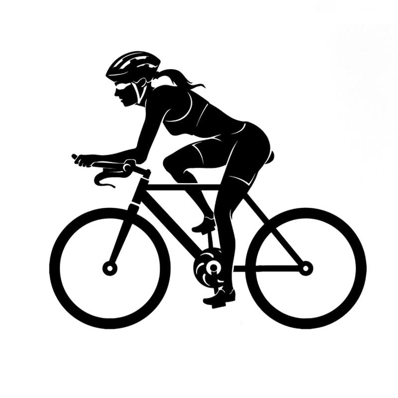 15.4CM*13.5CM Sport Bike Woman Female Cyclist Vinyl Decal Car Sticker S9-0232