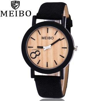 MEIBO Brand Simulation Wooden Watch Casual Wooden Color Leather Strap Watch Wood Women Wristwatch Relogio Masculino zegarek meibo