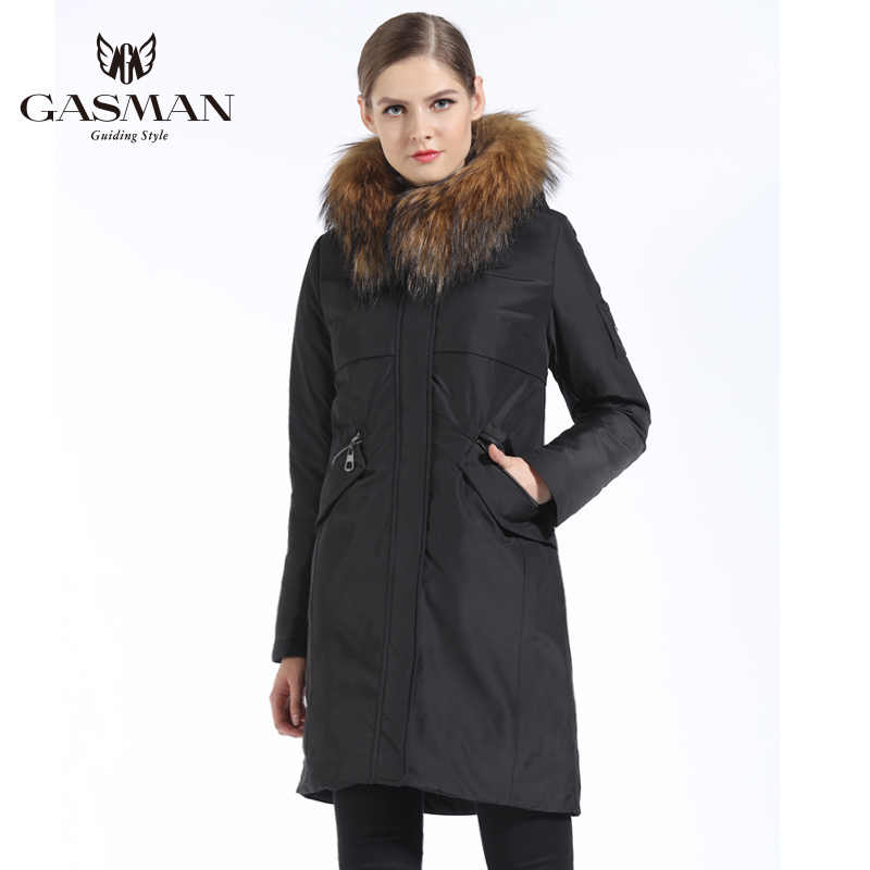 GASMAN 2018 veste d'hiver mi-longue pour femme col en fourrure naturelle capuche manteau épais rembourré Parka femmes vestes et manteaux marque