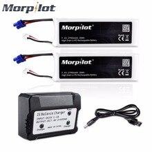 Morpilot 2 шт. 7.4 В 2700 мАч 10C lipo Батарея для Hubsan H501S H501A 501C Quadcopter BC658 + 2 в 1 Батарея баланс Зарядное устройство