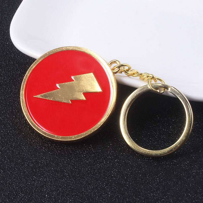 SG DC Movie Shazam Keychains Captain Billy Batson Fans Pins The Flash Lightning Men Car Keyring Souvenirs Jewelry Gift in Key Chains from Jewelry Accessories