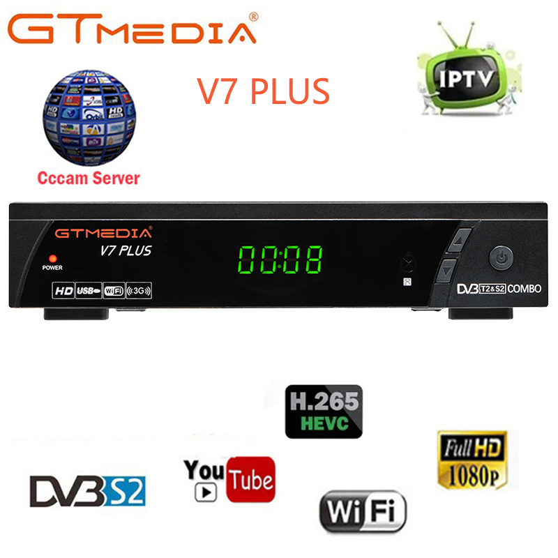 GTmedia V7 Plus Combo dvb-t2 dvb-s2 Satellite Receiver Suport H 265 PowerVu  Biss Key Ccam Newam Youtube vs alphabox x6 combo