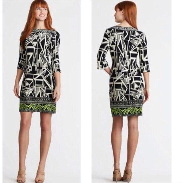 e598c136 Ladies' fashion top quality fashion in Europe and America geometric printing  knitting slim beautiful black dress