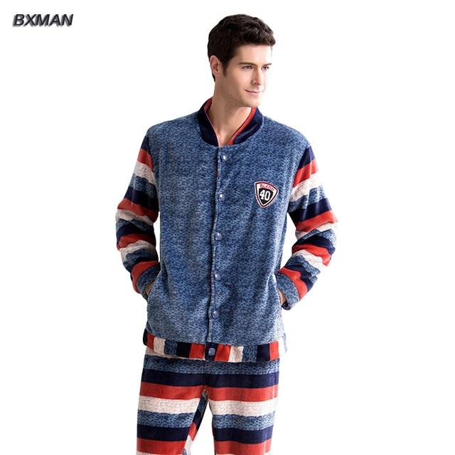 BXMAN Brand Men s Winter Pijamas Hombre Casual Pajamas Thicken Warm Coral  Fleece Striped V-Neck Full Sleeve Men Pajamas Sets 66 7a2f34133