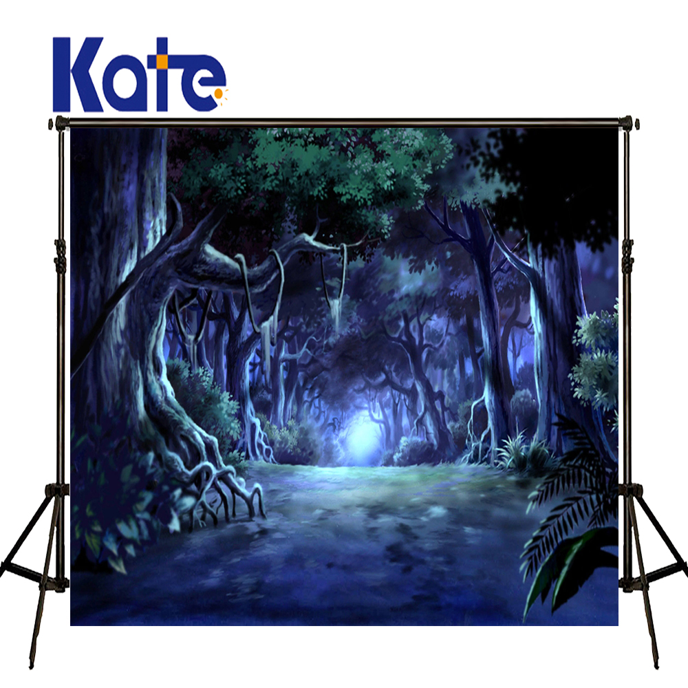 KATE Photography Backdrops 10x10ft Fairy Tale Forest Halloween Backdrop Backdrop Blue Children Photo Background for Photo Studio