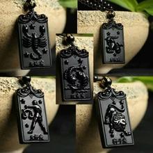 Прямая черный обсидиан 12 Созвездие ожерелье кулон с цепочкой Wo мужские ювелирные изделия