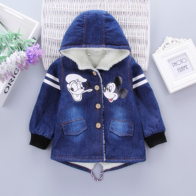 954a43a58 Boys Jacket Minnie Mouse Denim Jacket Infant Girls Winter Coat ...