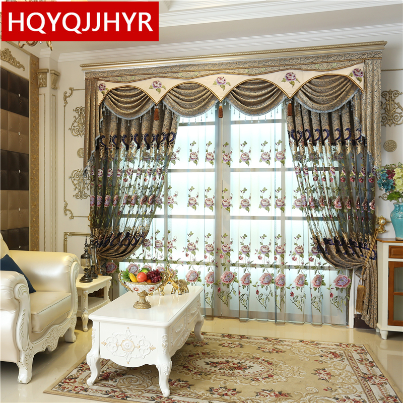 European style luxury royal embroidered curtains for - European style curtains for living room ...