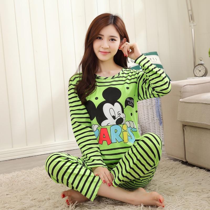бесплатная доставка пижамы наборы с длинным рукавом женщин пижамы осень-весна коробка хлопка пижамы mujer женщины главная одежда оптовая